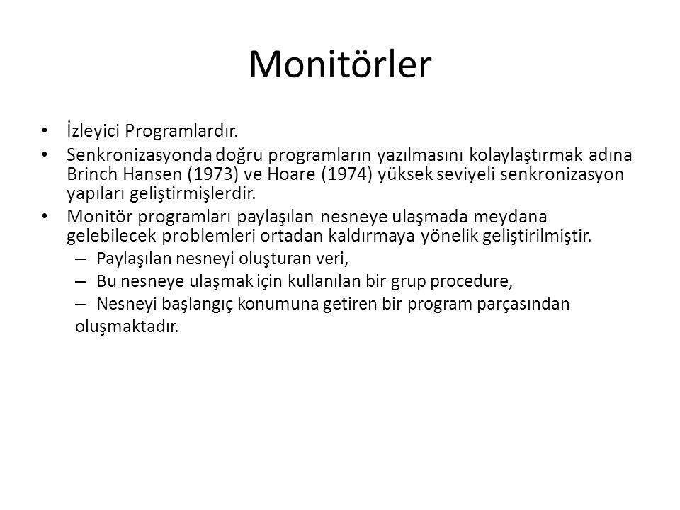Monitörler İzleyici Programlardır.