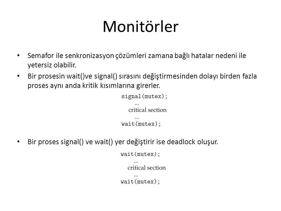 Monitörler Semafor ile senkronizasyon çözümleri zamana bağlı hatalar nedeni ile yetersiz olabilir.