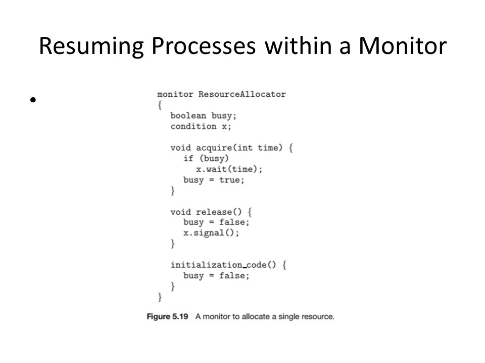 Resuming Processes within a Monitor