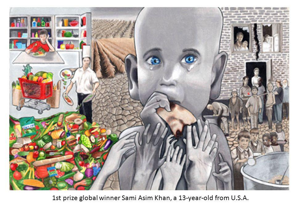 1st prize global winner Sami Asim Khan, a 13-year-old from U.S.A.