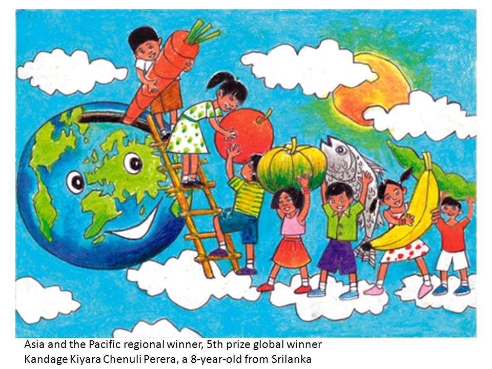 Asia and the Pacific regional winner, 5th prize global winner Kandage Kiyara Chenuli Perera, a 8-year-old from Srilanka