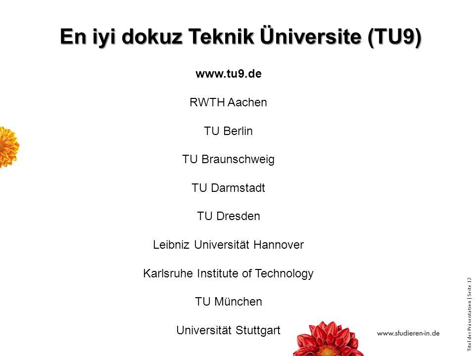 En iyi dokuz Teknik Üniversite (TU9)