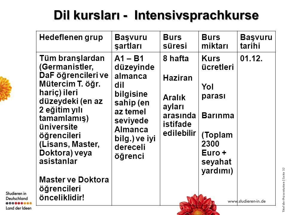Dil kursları - Intensivsprachkurse