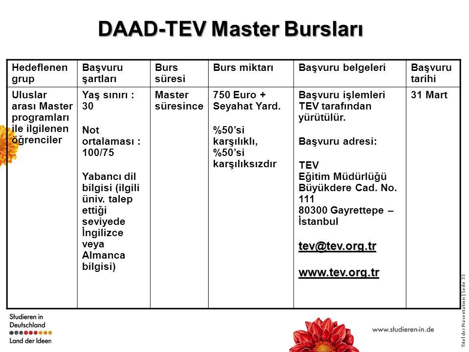 DAAD-TEV Master Bursları