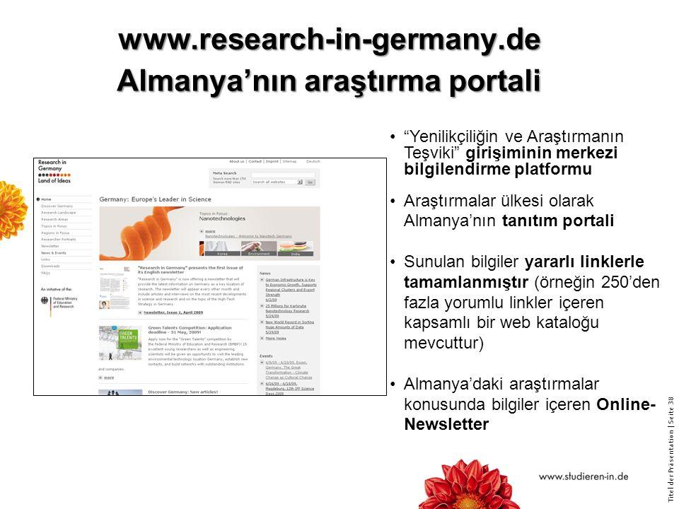 www.research-in-germany.de Almanya'nın araştırma portali
