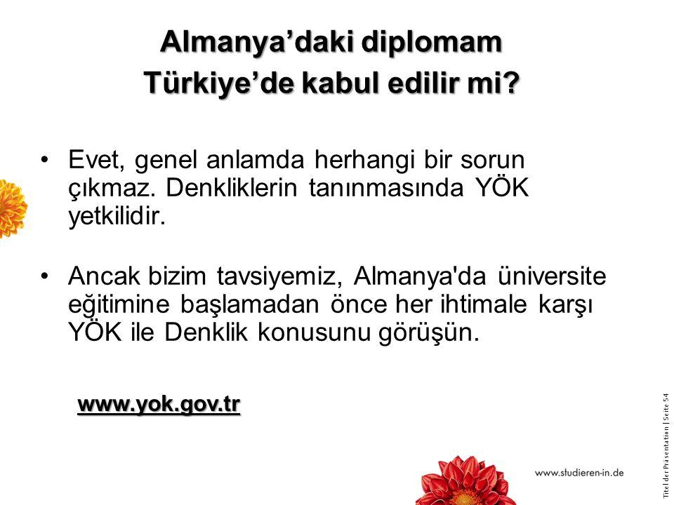 Almanya'daki diplomam Türkiye'de kabul edilir mi