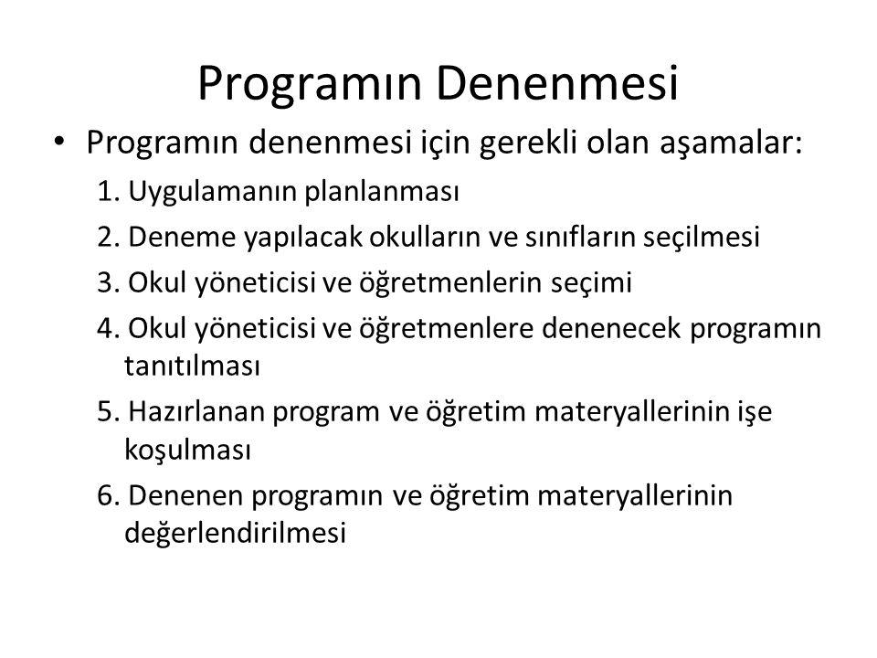 Programın Denenmesi Programın denenmesi için gerekli olan aşamalar: