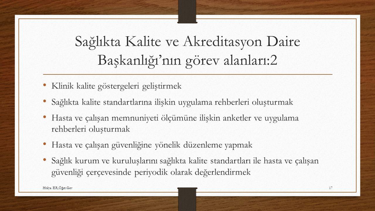 Sağlıkta Kalite ve Akreditasyon Daire Başkanlığı'nın görev alanları:2