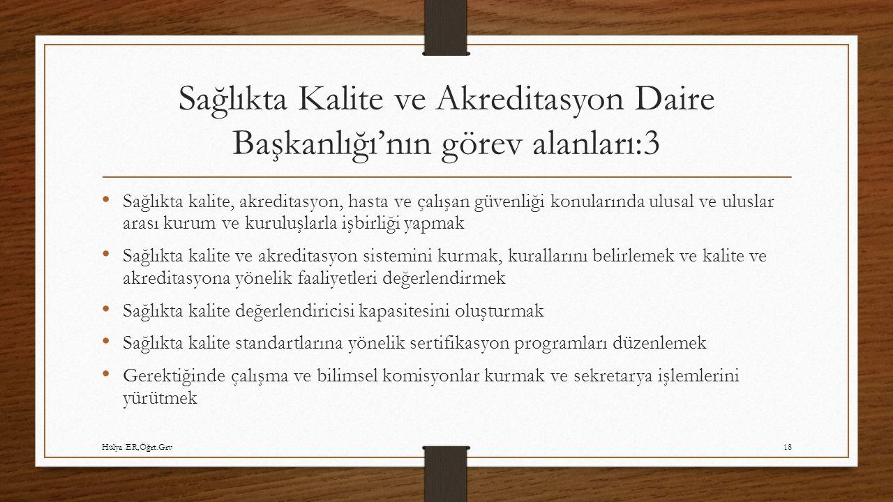 Sağlıkta Kalite ve Akreditasyon Daire Başkanlığı'nın görev alanları:3