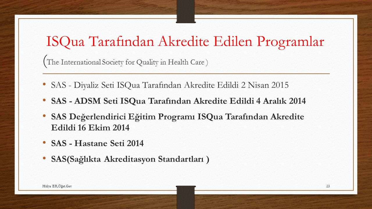 ISQua Tarafından Akredite Edilen Programlar (The International Society for Quality in Health Care )