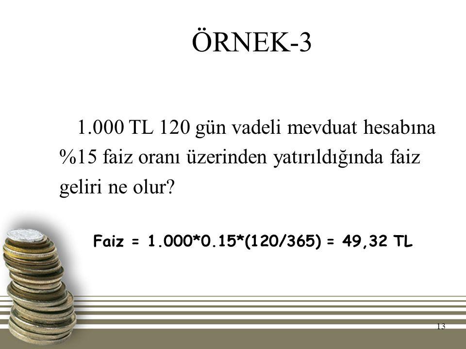 ÖRNEK-3 1.000 TL 120 gün vadeli mevduat hesabına