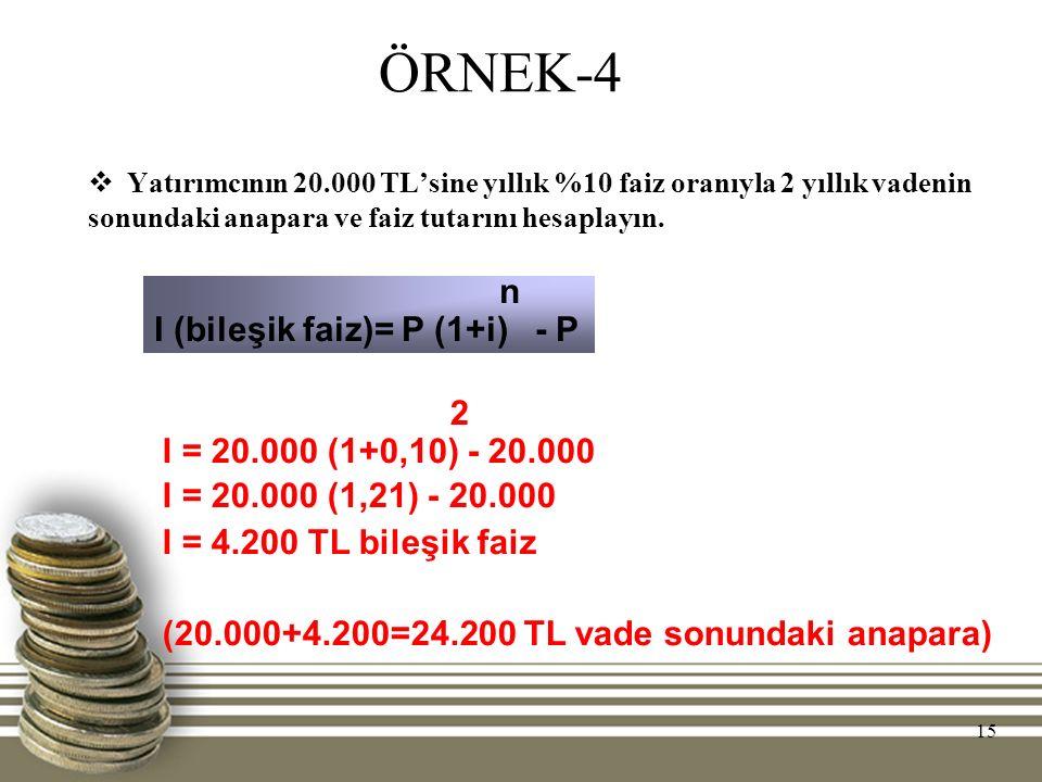 ÖRNEK-4 n I (bileşik faiz)= P (1+i) - P 2 I = 20.000 (1+0,10) - 20.000