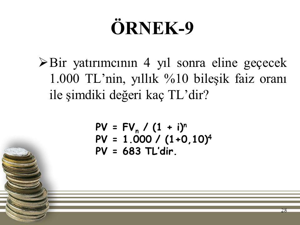 ÖRNEK-9 Bir yatırımcının 4 yıl sonra eline geçecek 1.000 TL'nin, yıllık %10 bileşik faiz oranı ile şimdiki değeri kaç TL'dir