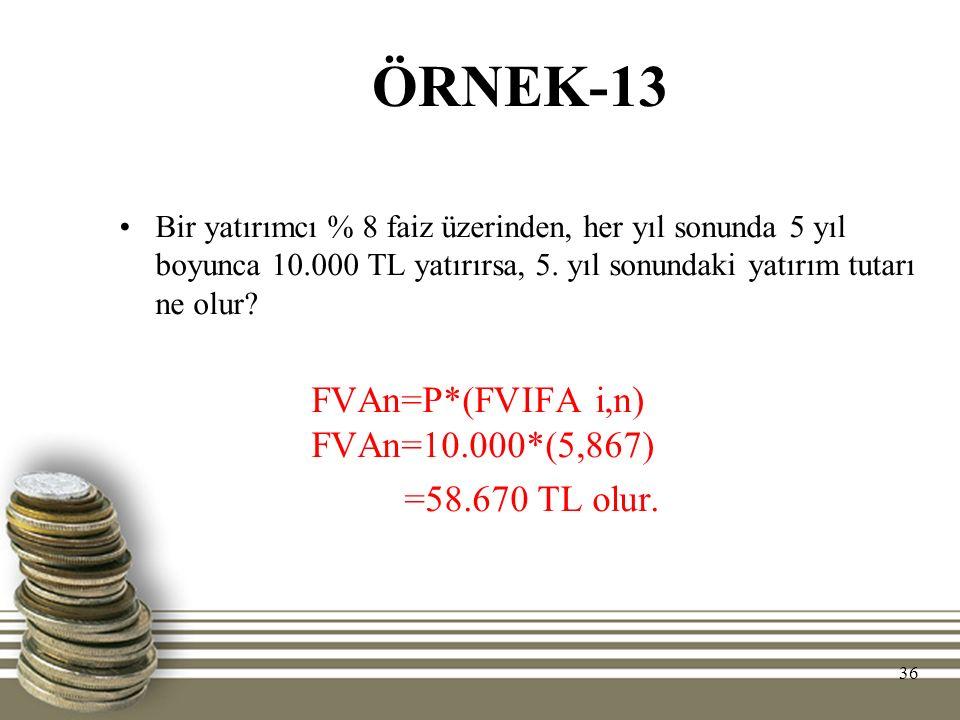 ÖRNEK-13 Bir yatırımcı % 8 faiz üzerinden, her yıl sonunda 5 yıl boyunca 10.000 TL yatırırsa, 5. yıl sonundaki yatırım tutarı ne olur