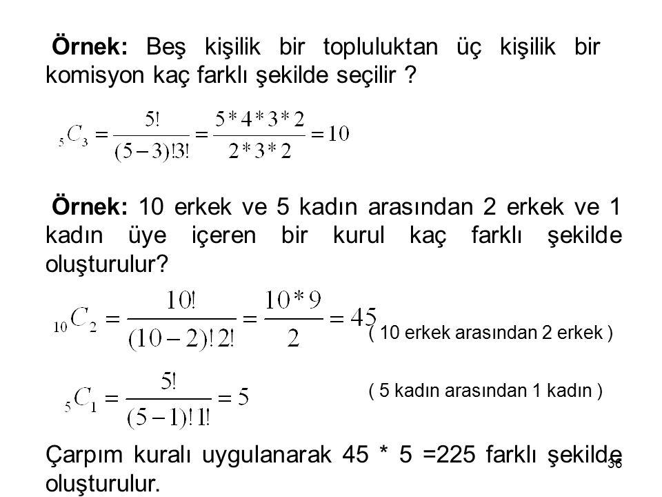 Çarpım kuralı uygulanarak 45 * 5 =225 farklı şekilde oluşturulur.
