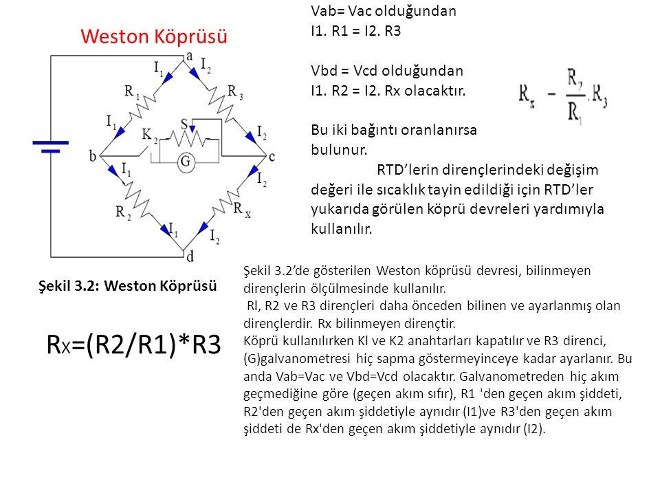RX=(R2/R1)*R3 Vab= Vac olduğundan I1. R1 = I2. R3 Weston Köprüsü