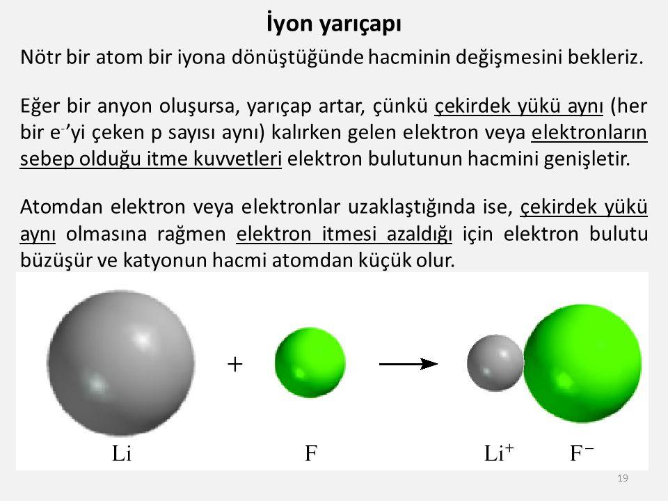 İyon yarıçapı Nötr bir atom bir iyona dönüştüğünde hacminin değişmesini bekleriz.