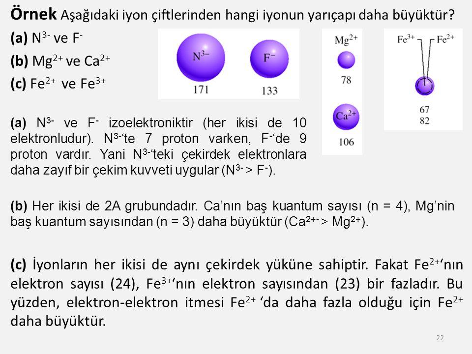 Örnek Aşağıdaki iyon çiftlerinden hangi iyonun yarıçapı daha büyüktür