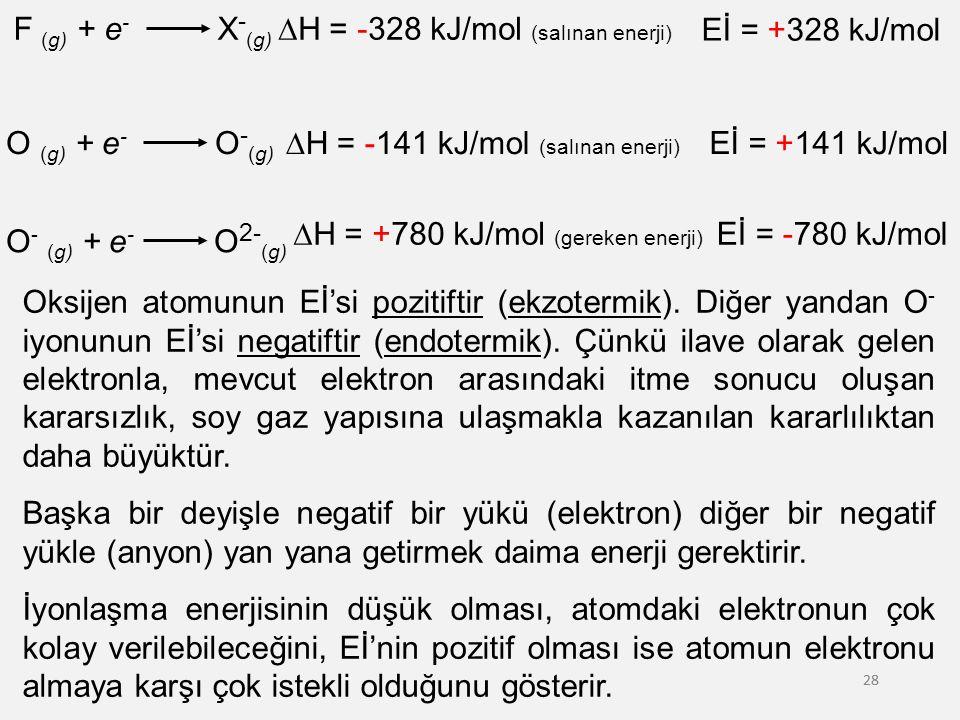 DH = -328 kJ/mol (salınan enerji) Eİ = +328 kJ/mol