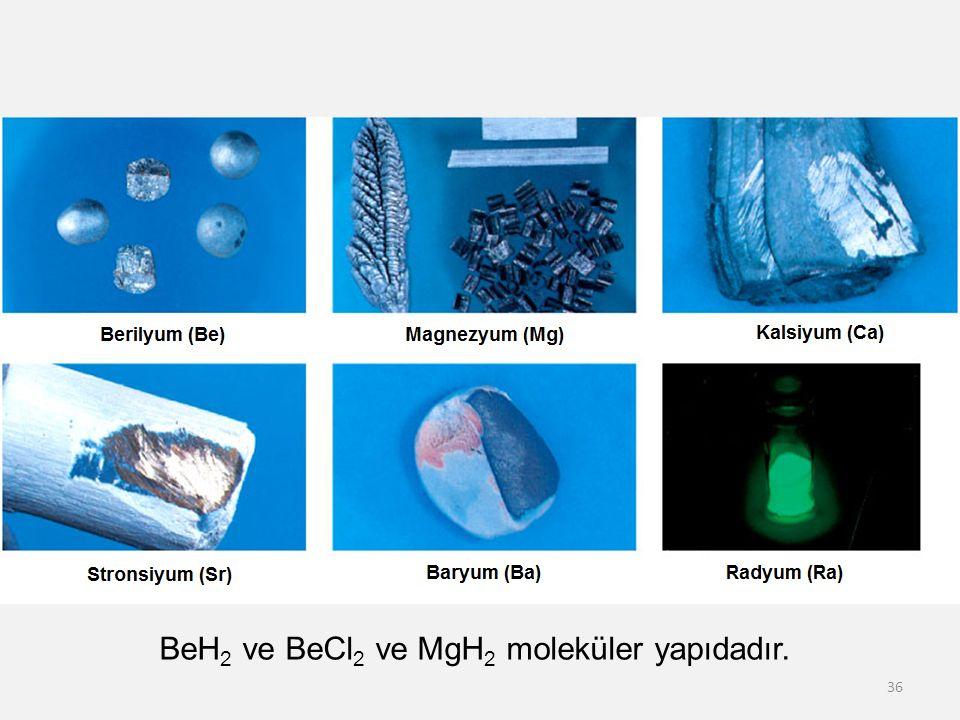 BeH2 ve BeCl2 ve MgH2 moleküler yapıdadır.