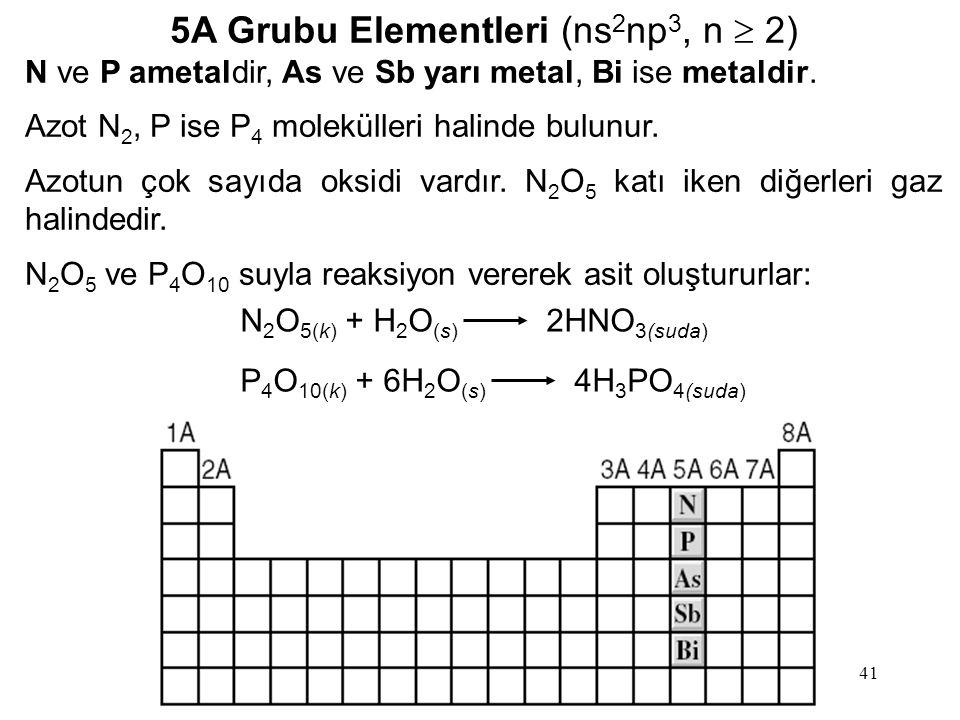 5A Grubu Elementleri (ns2np3, n  2)