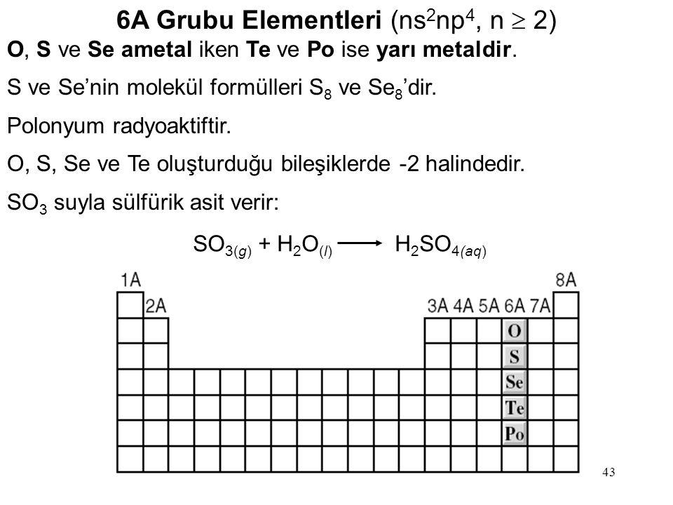 6A Grubu Elementleri (ns2np4, n  2)