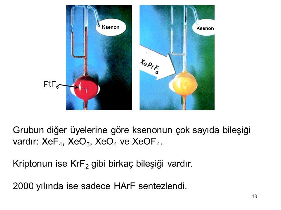 Kriptonun ise KrF2 gibi birkaç bileşiği vardır.