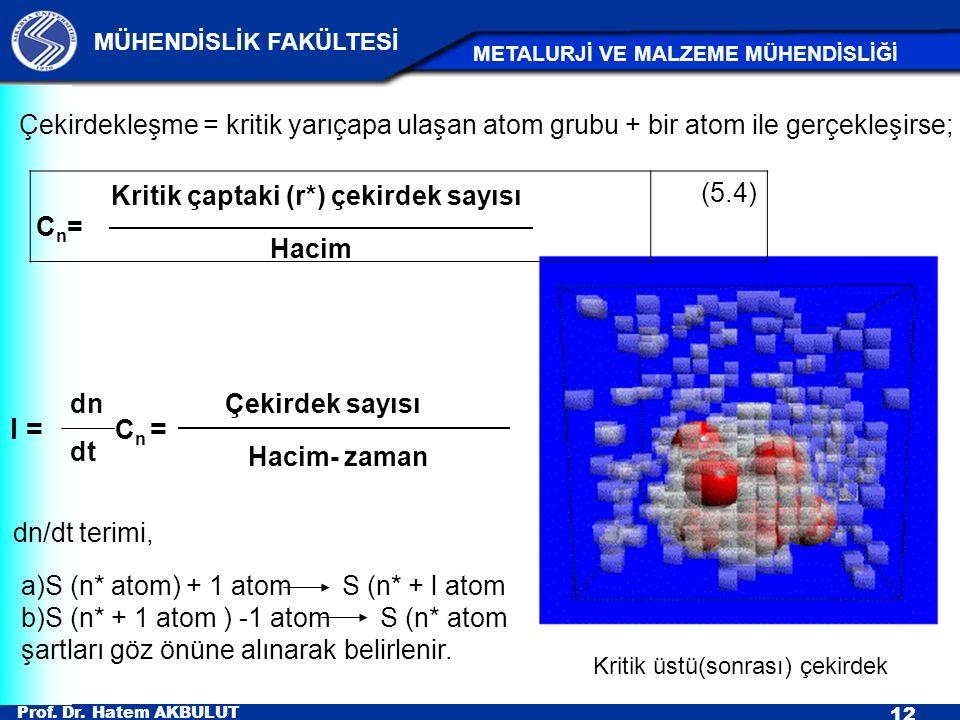 Çekirdekleşme = kritik yarıçapa ulaşan atom grubu + bir atom ile gerçekleşirse;
