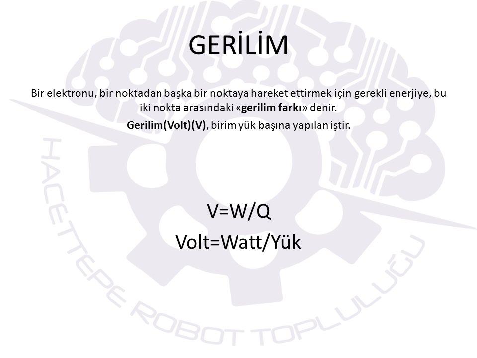 Gerilim(Volt)(V), birim yük başına yapılan iştir.