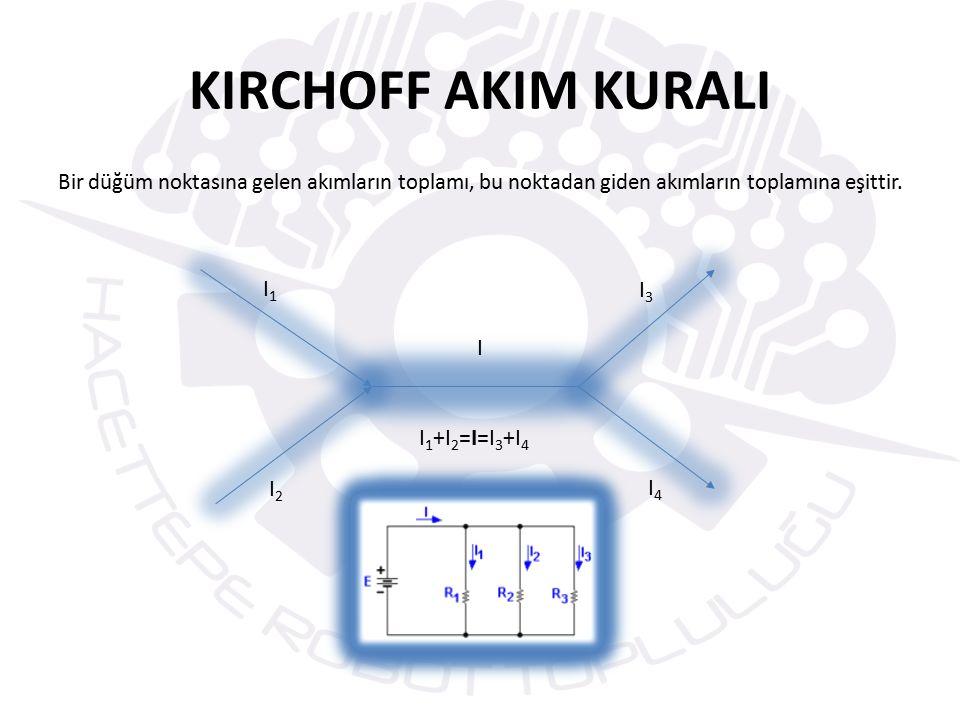 KIRCHOFF AKIM KURALI I1 I3 I I1+I2=I=I3+I4 I2 I4