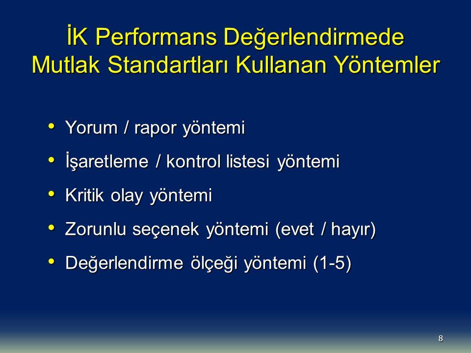 İK Performans Değerlendirmede Mutlak Standartları Kullanan Yöntemler