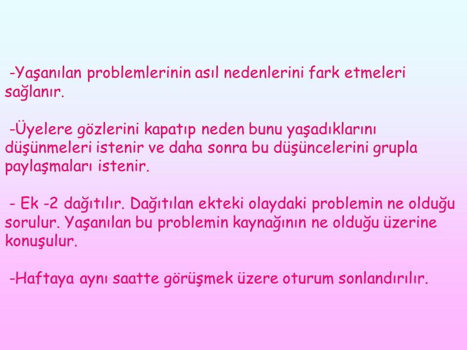 -Yaşanılan problemlerinin asıl nedenlerini fark etmeleri sağlanır