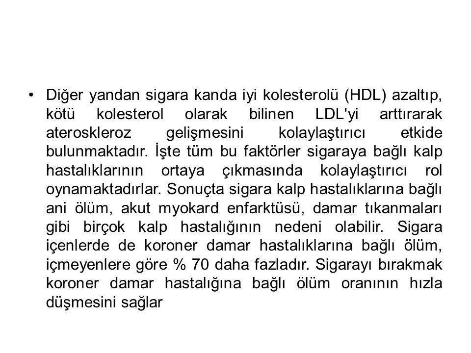 Diğer yandan sigara kanda iyi kolesterolü (HDL) azaltıp, kötü kolesterol olarak bilinen LDL yi arttırarak ateroskleroz gelişmesini kolaylaştırıcı etkide bulunmaktadır.