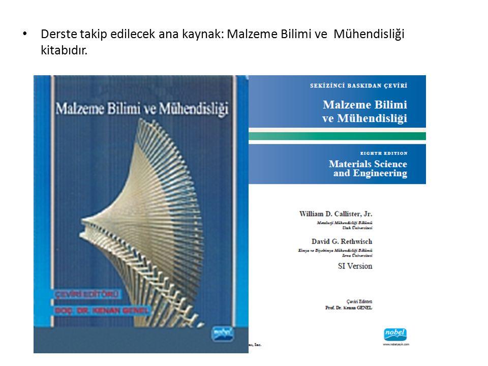 Derste takip edilecek ana kaynak: Malzeme Bilimi ve Mühendisliği kitabıdır.