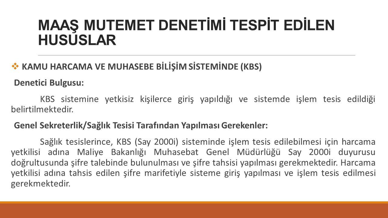 MAAŞ MUTEMET DENETİMİ TESPİT EDİLEN HUSUSLAR