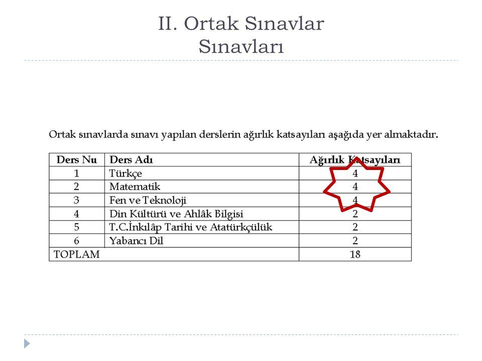 II. Ortak Sınavlar Sınavları