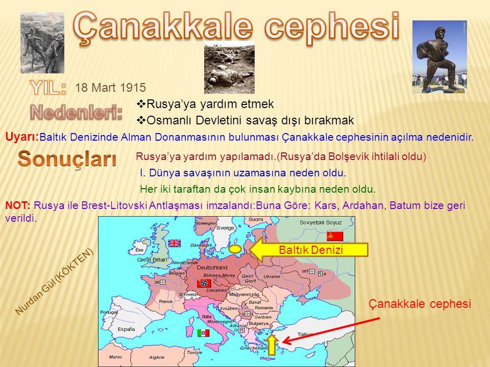 Çanakkale cephesi Sonuçları YIL: Nedenleri: 18 Mart 1915