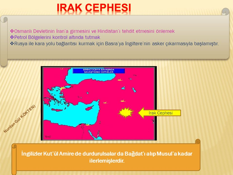 Irak Cephesi Osmanlı Devletinin İran'a girmesini ve Hindistan'ı tehdit etmesini önlemek. Petrol Bölgelerini kontrol altında tutmak.
