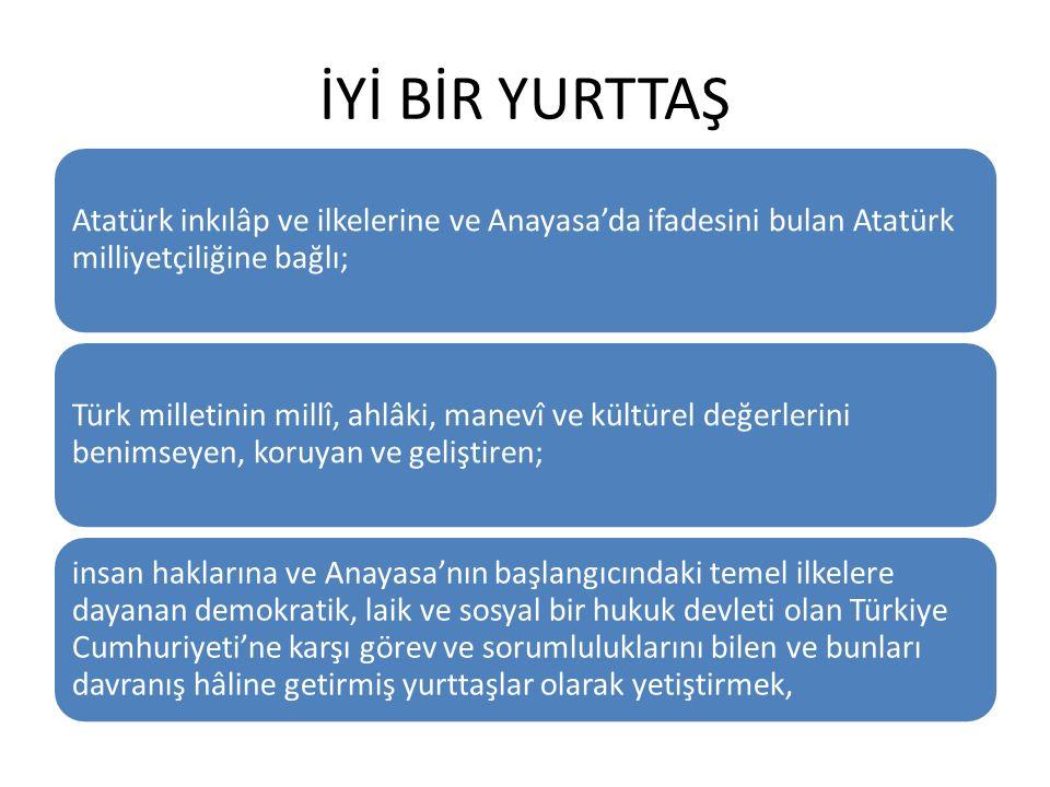 İYİ BİR YURTTAŞ Atatürk inkılâp ve ilkelerine ve Anayasa'da ifadesini bulan Atatürk milliyetçiliğine bağlı;