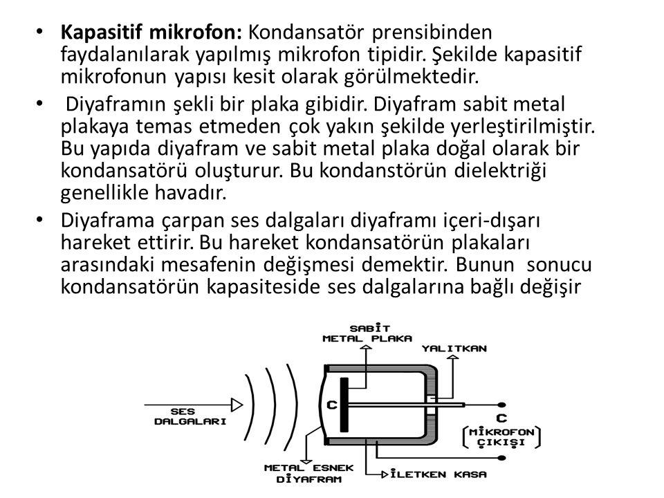 Kapasitif mikrofon: Kondansatör prensibinden faydalanılarak yapılmış mikrofon tipidir. Şekilde kapasitif mikrofonun yapısı kesit olarak görülmektedir.