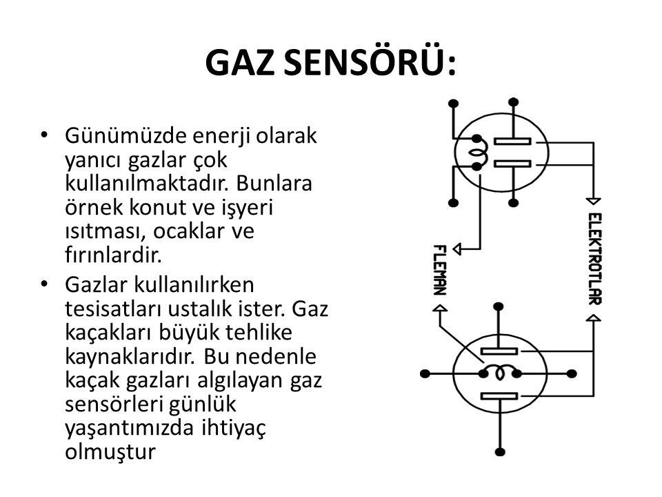 GAZ SENSÖRÜ: Günümüzde enerji olarak yanıcı gazlar çok kullanılmaktadır. Bunlara örnek konut ve işyeri ısıtması, ocaklar ve fırınlardir.