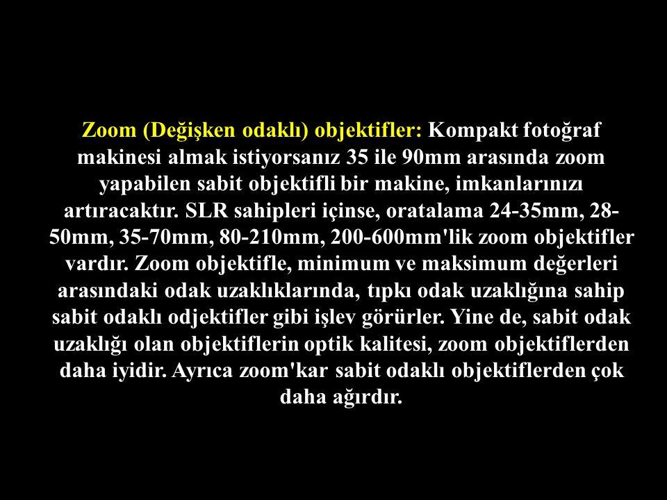 Zoom (Değişken odaklı) objektifler: Kompakt fotoğraf makinesi almak istiyorsanız 35 ile 90mm arasında zoom yapabilen sabit objektifli bir makine, imkanlarınızı artıracaktır.
