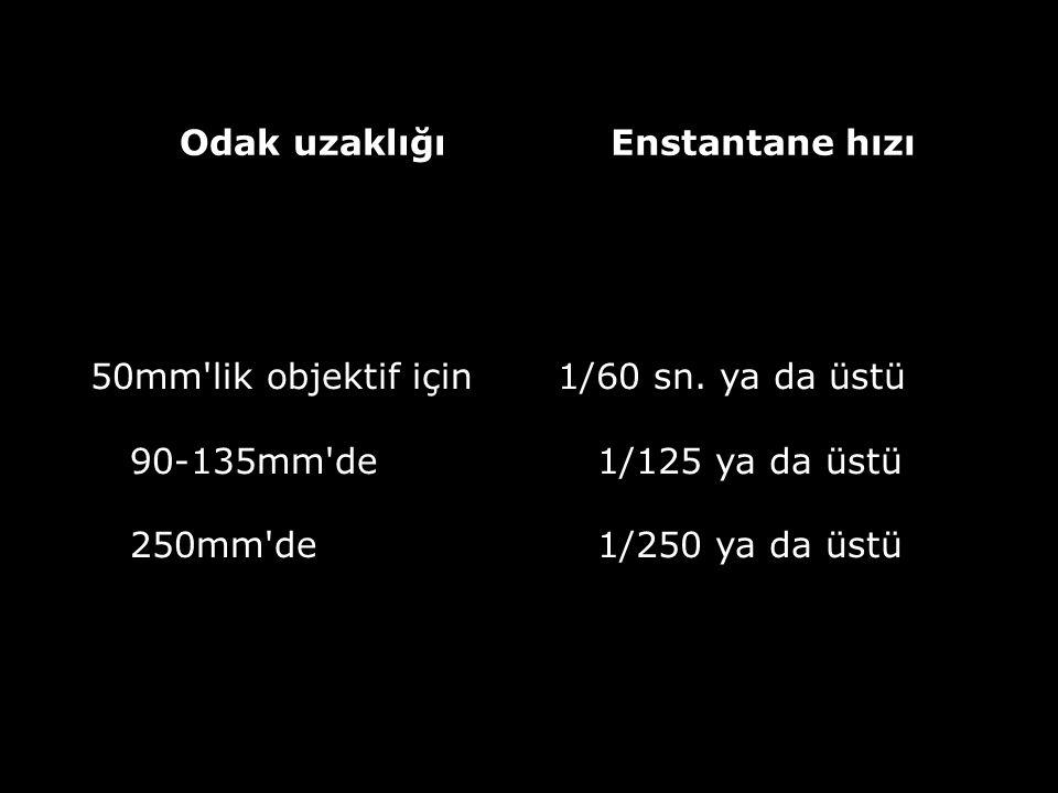 Odak uzaklığı Enstantane hızı. 50mm lik objektif için 90-135mm de 250mm de.