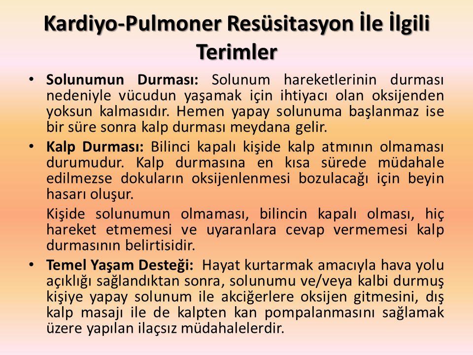Kardiyo-Pulmoner Resüsitasyon İle İlgili Terimler