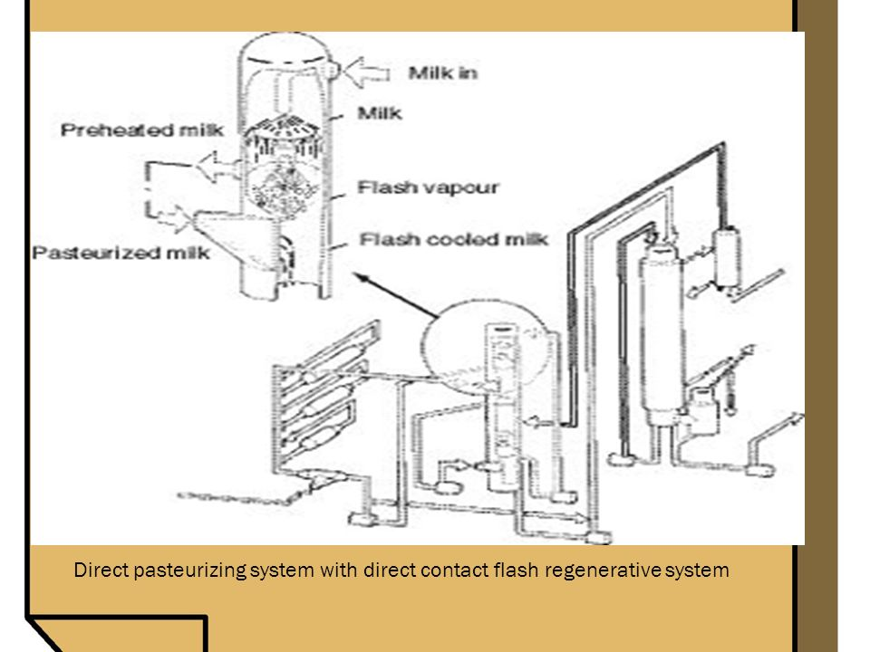 Direct pasteurizing system with direct contact flash regenerative system