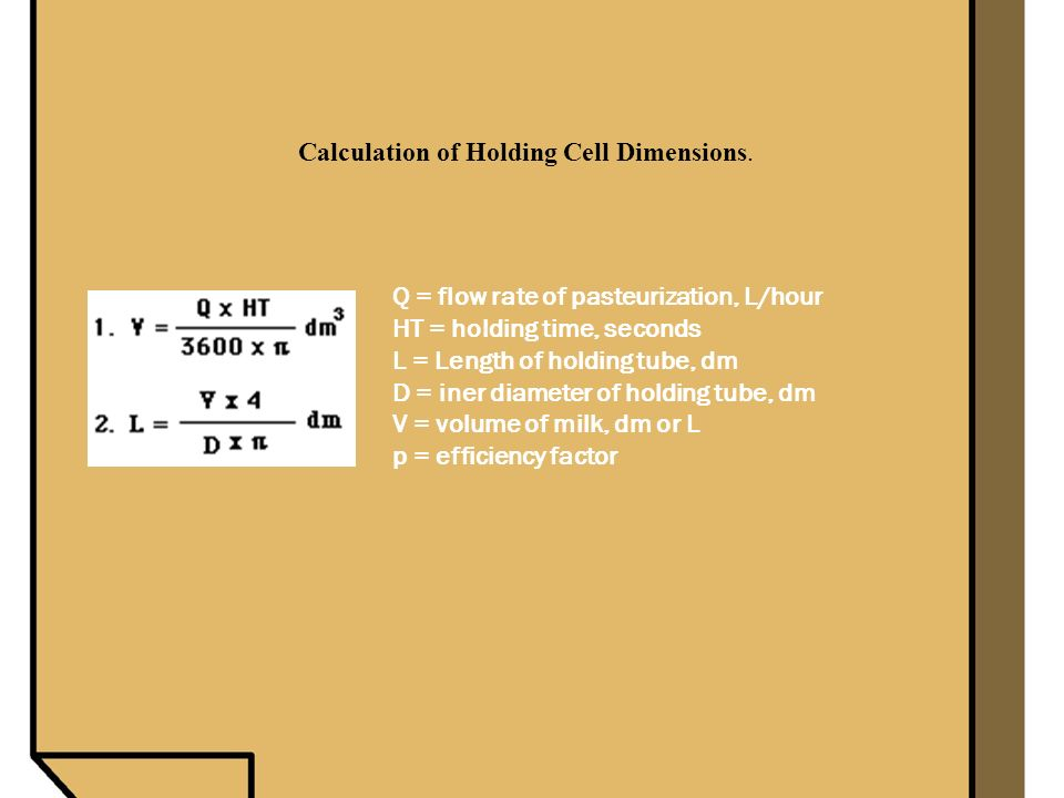 Calculation of Holding Cell Dimensions.