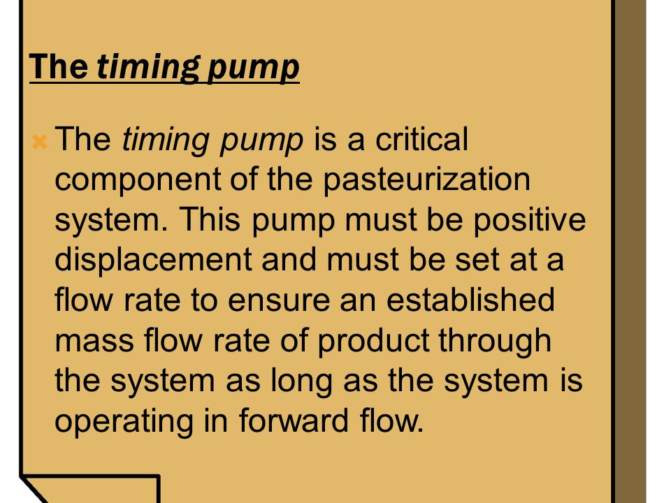 The timing pump