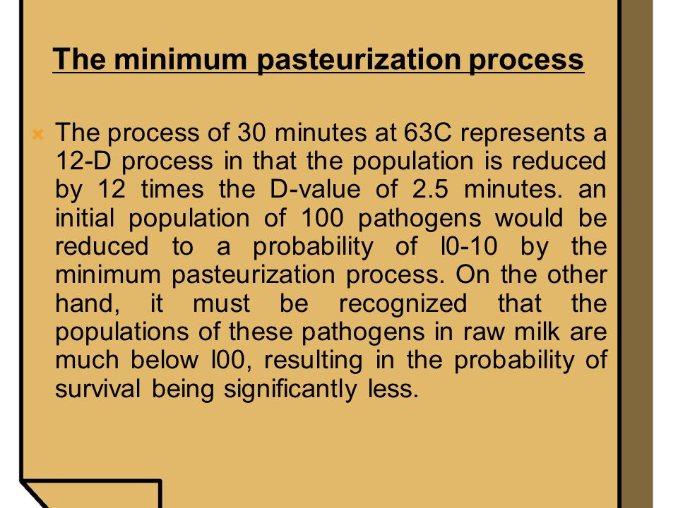 The minimum pasteurization process