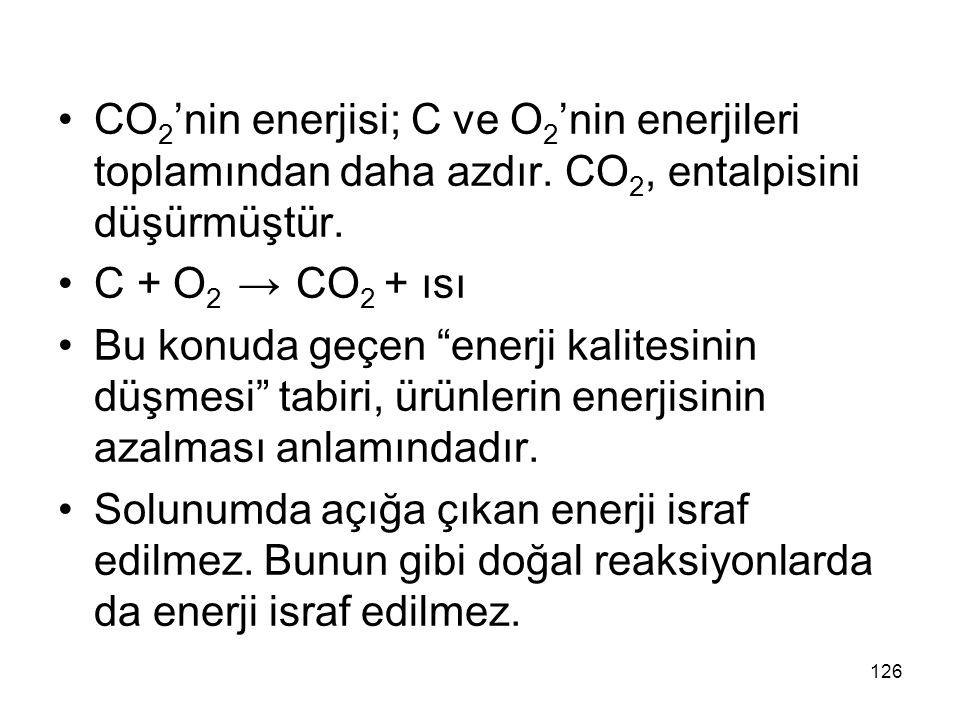 CO2'nin enerjisi; C ve O2'nin enerjileri toplamından daha azdır