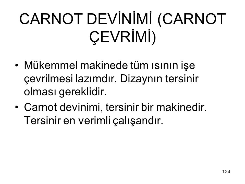 CARNOT DEVİNİMİ (CARNOT ÇEVRİMİ)
